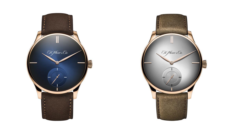 红金材质,简洁之风:MOSER&CIE.亨利慕时推出冒险者小秒针XL PURITY腕表。